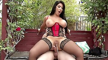 Busty housewife Raven Hart gets fucked on a bench in the park