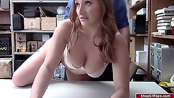 Flirty, Mexican ash-blonde with immense breasts is about to have orgy with a security stud