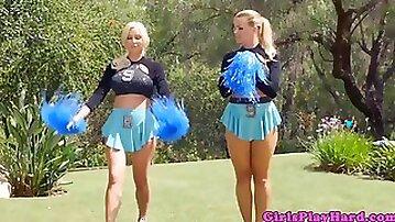 Cheerleading lesbian facesitting on lover