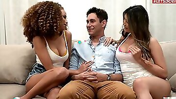Curly haired ebony and thick Asian in mutual cock sharing XXX