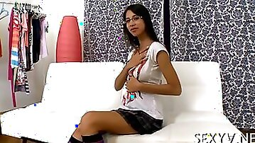 Busty schoolgirl with glasses sucks dick and fucks first time