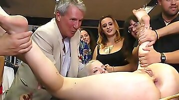 Euro blonde whipped and anal fucked in public