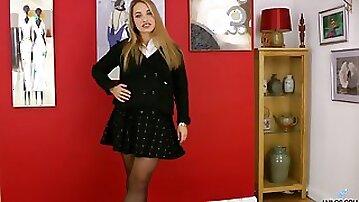 A bit chubby nympho Olga Cabaeva teases her wet pussy sensually