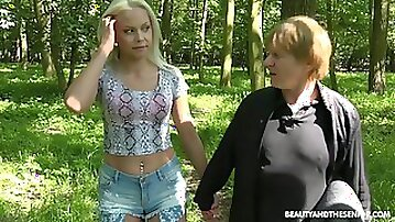Ugly old pervert polishes soaking Czech pussy doggy outdoors