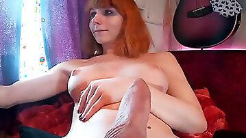 Big Balls Redhead Shemale Jerking Big Dick