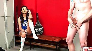 Sexy cfnm cheerleader giggles at cock