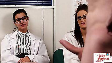 Brit voyeur nurses watching patient tug
