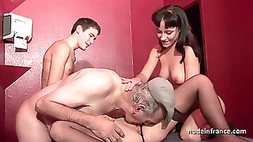 Young french babes boned and sodomized in foursome with Papy hidden cam