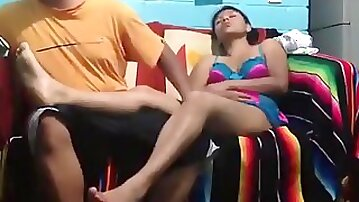 Latina gets eaten out, missionary fucked and rides her bf on the sofa.