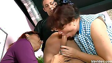 Hardcore FFM threesome between an older couple and a younger babe