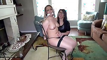 Kinky blonde got tied up and blindfolded because her mistress likes to torture her like that