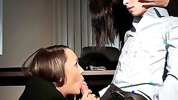 Blindfolded dude receives a surprise blowjob and cock riding