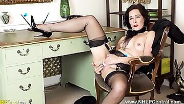 Sexy Secretary Strips Off Panties Fingers Pussy In Black Nylons And Heels