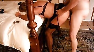 Sissy wife whore hard fucking from visiting Daddy