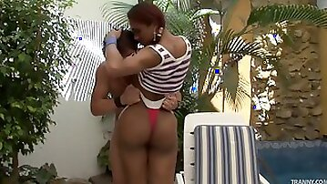 Wild transsexual whore with amazing juggs and a stunning tight ass enjoying hardcore sex