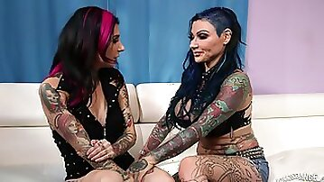 Wild lesbian punksters with tattoos fingering and having oral sex