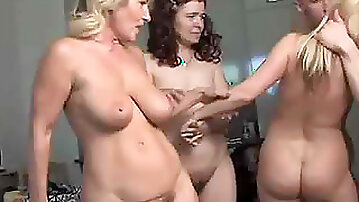 Super Hot and Horny Lesbian Matures Share One Cock in an Awesome Orgy