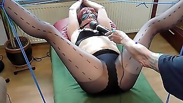 My tied slave squirting as I fist her