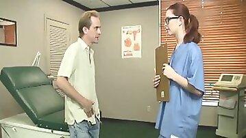 Slutty redhead nurse decides to pleasure her patient with a handjob