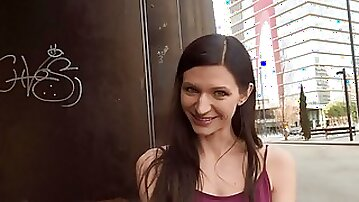 Arousing random public hookup for sexy brunette Arian Joy