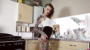 Tattooed punk JOI with an instruction to cum