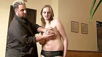 Czech blonde with huge natural hungers gives titjob and gets cumshot