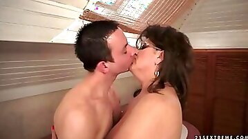 Boy fucks hot grandma in the bathroom