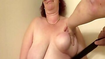 200 Strokes On Her Fat Breasts