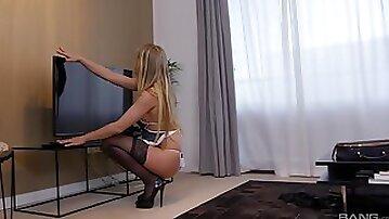 Blonde MILF Stella Delcroix masturbates and rides dick in stockings