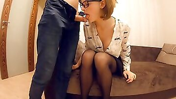 The boss leaves the office and sees his secretary fingering