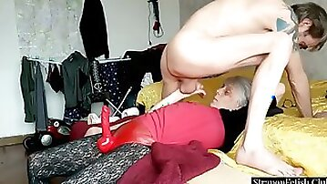 Dominant GILF Strapon Pegging Her Submissive Hubby