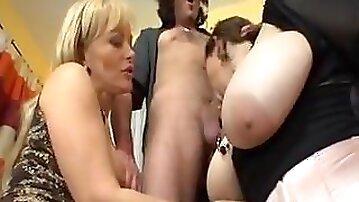 Massive mature jugs group sex