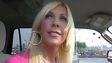 Nasty blonde MILF in high heels jumps on long black tool