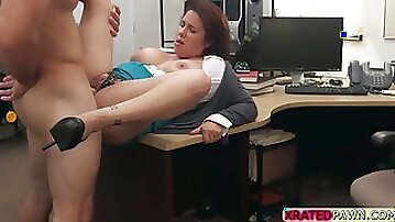 MILF and Busty babe gets pawned inside her pussy in the pawn shop office