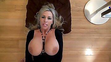 Blonde busty wife gets a cum facial