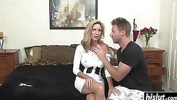 Busty milf seduces her son's best friend
