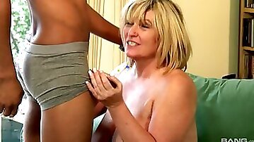 Blonde cougar needs to moan while a black guy bangs her roughly