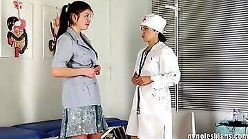Lesbian doctor giving a thorough pussy exam