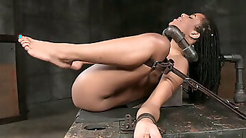 Hot black girl restrained on the table and fucked hard