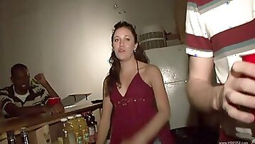 Ebony babes fucked by her boyfriend in a party