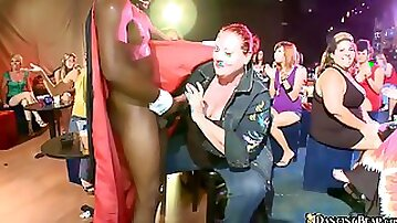 Black stud with huge cock sucked by fat girl in club