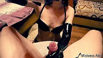 Ebony Spandex Mittens Make Trouser Snake Spew Out With Jizz! Lots of Lube and your Demolished Climax