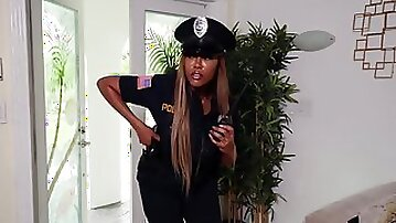 Busty ebony officer Moriah Mills catches & fucks the big dicked burglar
