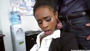 Ebony secretary Ivy Young fucked bad in the office