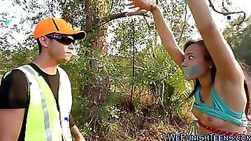 Nasty teen deepthroats a hard nail stick outdoors