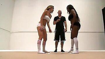 Blonde Babe & Amazing Asian Wrestle & Fuck