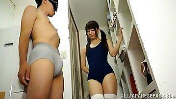 Yurika Miyaji gives a guy a footjob while she wears a bathing suit