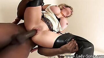 Lady Sonia copulating BIG BLACK COCK in cuckold session