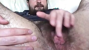 Ugly hairy guy rubs his ftm clit on webcam solo