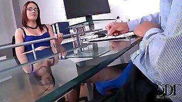 Boss in beautiful blue dress gives footjob